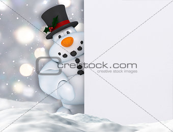 3D snowman holding a blank sign