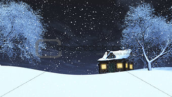 3D snowy landscape at night