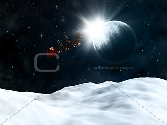 3D winter landscape with santa flying though a night sky