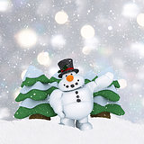 3D snowman on silver Christmas background with mounds of snow