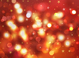 Christmas stars and bokeh lights background