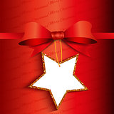 Christmas gift background with glittery label