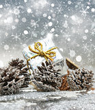Christmas gift on snowflakes background