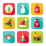 Winter Christmas New Year Square App Icons Set