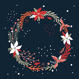 Christmas New Year Holiday wreath Hand drawn design element