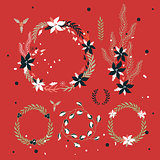 Christmas New Year Holiday wreath Hand drawn design elements