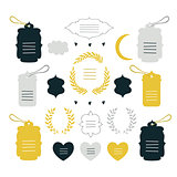 Hand drawn design elements collection Label tag wreath sign symbol
