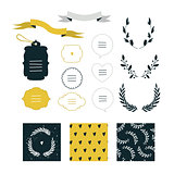 Hand drawn design elements collection Label ribbon wreath sign symbol