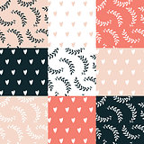 Seamless background pattern set Cute hand drawn design elements
