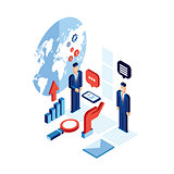 Businessman isometric people Successful business communication technology concept