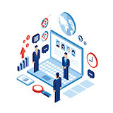 Businessman isometric people Successful business Social network communication Technology concept