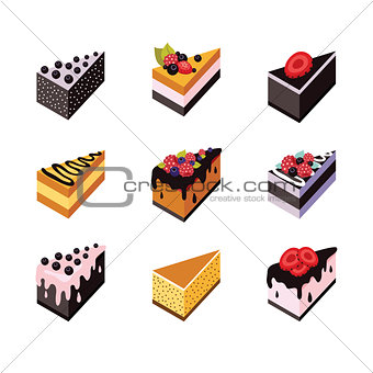 Cake set Isometric flat design web icon collection Delicious dessert