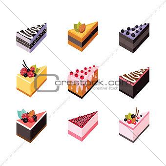Cake set Isometric flat design web icon collection Delicious dessert