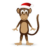 Monkey with santa hat isolated on white background.
