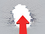 Wall crash red arrow with hole