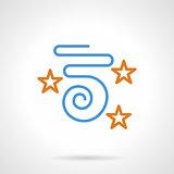 Blue confetti and stars simple line vector icon