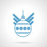 Blue flat line ball with snowflakes vector icon