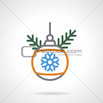Christmas bauble color line vector icon