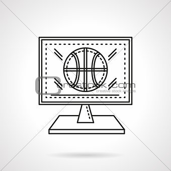 Basketball online flat line vector icon
