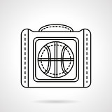 Bag for basketball flat line vector icon
