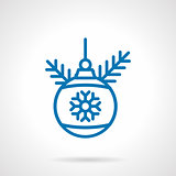 Simple blue line decoration bauble vector icon
