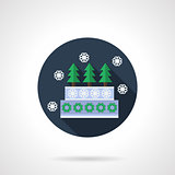Winter pie blue round flat vector icon