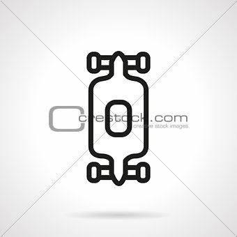 Black simple line longboard vector icon