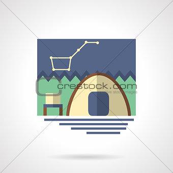 Campsite flat color vector icon