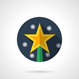 Christmas star round flat vector icon