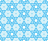 Jewish, Star of David blue seamless pattern