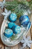 Macarons and Christmas ball. Christmas composition.