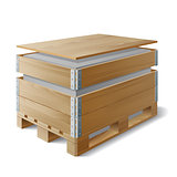 Wooden box with cargo on a pallet