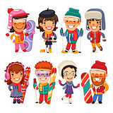 Cute Cartoon Skiers, Skaters and Snowboarders