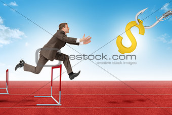 Man hoppin over treadmill barrier with dollar sign