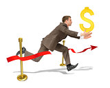 Businessman with dollar sign finishing