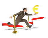 Businessman with euro sign finishing