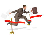 Businessman with suitcase finishing