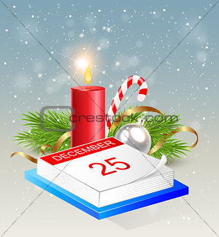 Calendar and red candle