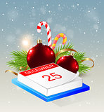 Calendar and red decorations