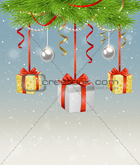 Green fir branch and gifts