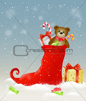 Red sock and Christmas gifts