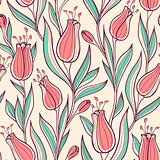 Seamless pattern wit tulips