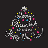 Merry Christmas and happy new year handmade lettering inscription