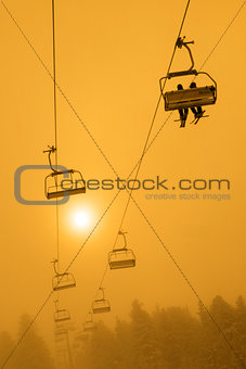 Ski Chair Lift Sunset or Sunrise