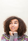 Mixed Race African American Girl Teenager Thinking