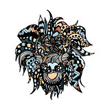 hand draw lion head zentangle patterns painted in trendy colors