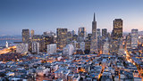 San Francisco Downtown from top of Coit Tower in Telegraph Hill, Dusk.