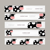 Set of banners with funny cow