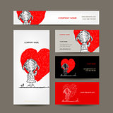 Business cards design. Girl draws red heart