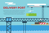 Sea transportation logistic port infographics